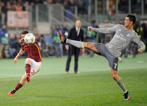 17.02.2016. Stadio Olimpico, Rome, Italy. UEFA Champions League, Round of 16 - first leg, AS Roma versus Real Madrid.  Alessandro Florenzi in action against the attempted block from Cristiano Ronaldo