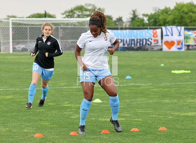 Piscataway, NJ - Saturday May 20, 2017: Daphne Corboz, Kayla Mills prior to a regular season National Women's Soccer League (NWSL) match between Sky Blue FC and the Houston Dash at Yurcak Field.  Sky Blue defeated Houston, 2-1.