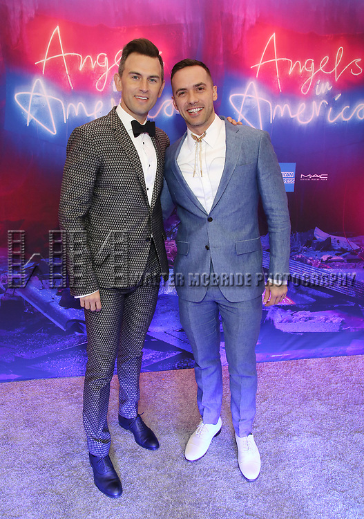 """Daniel Reichard and Patrick McCollum attends the Broadway Opening Night Arrivals for """"Angels In America"""" - Part One and Part Two at the Neil Simon Theatre on March 25, 2018 in New York City."""