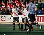 UTRECHT -  Tanguy Cosyns (Adam) heeft gescoord  tijdens de hoofdklasse hockeywedstrijd mannen, Kampong-Amsterdam (4-3).  COPYRIGHT KOEN SUYK