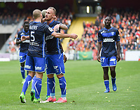 20170415 - LENS , FRANCE : Auxerre's players celebrating the opening goal from Gaetan Courtet (5) pictured during the soccer match between Racing Club de LENS and AJ Auxerre , on the thirty third matchday in the French Dominos pizza Ligue 2 at the Stade Bollaert Delelis stadium , Lens . Saturday 15 April 2017 . PHOTO DIRK VUYLSTEKE | SPORTPIX.BE