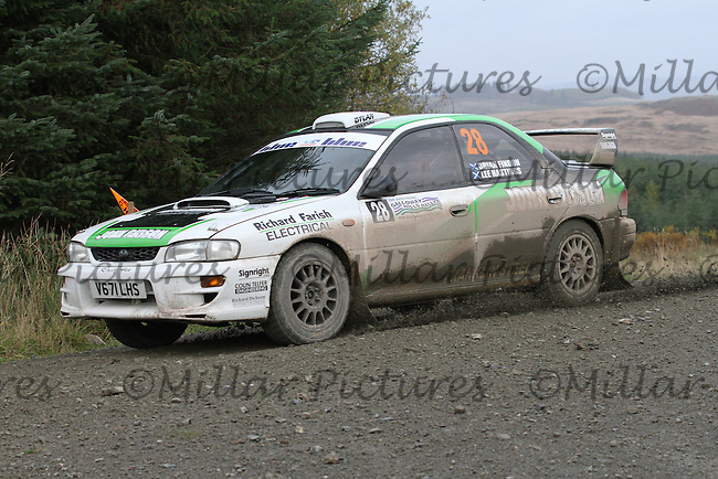 Lee Hastings / Brian Findon at Junction 9 on Special Stage 5 Stewartry Tyres Glengap of the Armstrong Galloway Hills Rally 2013, Round 9 of the RAC MSA Scotish Rally Championship which was organised by Solway, Machars and East Ayrshire Car Clubs and based in Castle Douglas on 27.10.13.