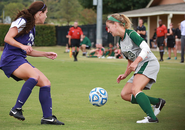 Denton, TX - SEPTEMBER 16: Katelyn Ross #20 of the North Texas Mean Green soccer in action against the Texas Christian University Horned Frogs at the Mean Green Village Soccer Field University in Denton on September 16, 2012 in Denton, Texas. (Photo by Rick Yeatts)