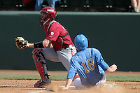 Collin Slaybaugh #28 of the Washington State Cougars waits for the ball against the UCLA Bruins at Jackie Robinson Stadium on March 24, 2012 in Los Angeles,California. UCLA defeated Washington 12-3.(Larry Goren/Four Seam Images)