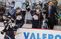 Oklahoma City Barons players celebrate the playoff series win after an AHL hockey game against the San Antonio Rampage, Friday, May 11, 2012, in San Antonio. Oklahoma City won 4-3. (Darren Abate/pressphotointl.com)