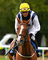Dutchess of Avon ridden by Katy Brooks goes down to the start  of The Gift Of Sight Handicap  during Evening Racing at Salisbury Racecourse on 3rd September 2019
