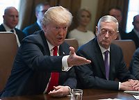 United States President Donald J. Trump makes opening remarks as he holds a Cabinet meeting in the Cabinet Room of the White House in Washington, DC on Wednesday, January 10, 2018.  Looking on from right is US Secretary of Defense Jim Mattis.<br /> CAP/MPI/RS<br /> &copy;RS/MPI/Capital Pictures