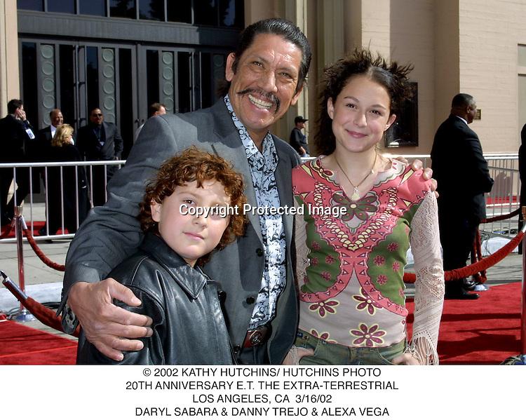 © 2002 KATHY HUTCHINS/ HUTCHINS PHOTO.20TH ANNIVERSARY E.T. THE EXTRA-TERRESTRIAL.LOS ANGELES, CA  3/16/02.DARYL SABARA & DANNY TREJO & ALEXA VEGA