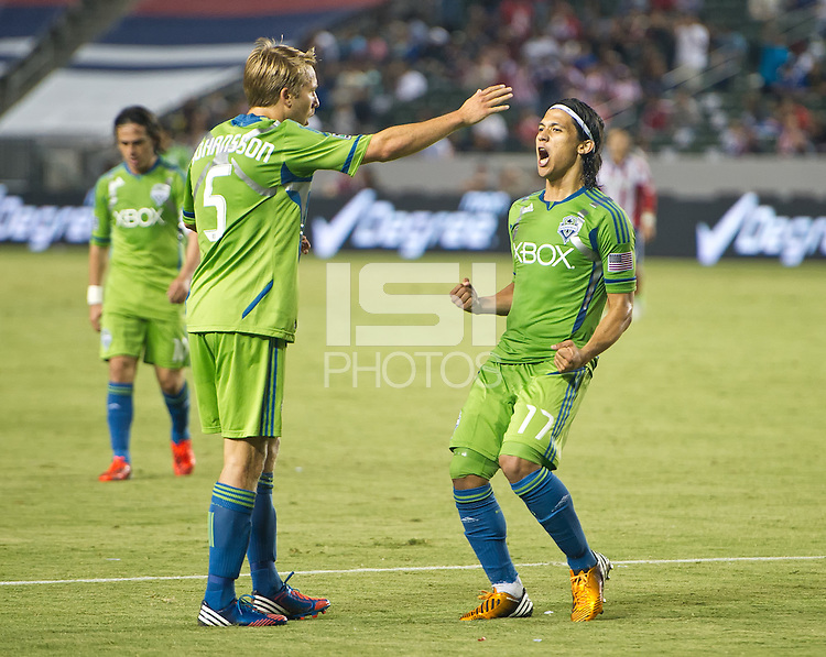CARSON, CA - August 25, 2012: Seattle forward Fredy Montero (17) celebrates his goal during the Chivas USA vs Seattle Sounders match at the Home Depot Center in Carson, California. Final score, Chivas USA 2, Seattle Sounders 6.