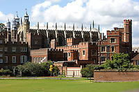 Eton College and its famous chapel seen over its playing fields.