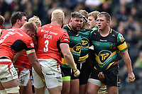 Kieran Brookes and Alex Waller of Northampton Saints look on as a scrum breaks up. Aviva Premiership match, between Northampton Saints and Saracens on April 16, 2017 at Stadium mk in Milton Keynes, England. Photo by: Patrick Khachfe / JMP