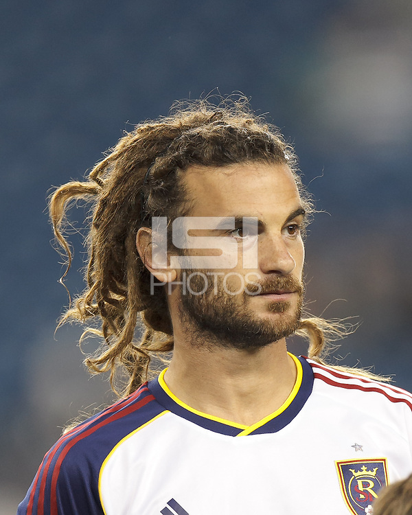 Real Salt Lake midfielder Kyle Beckerman (5). In a Major League Soccer (MLS) match, Real Salt Lake (white)defeated the New England Revolution (blue), 2-1, at Gillette Stadium on May 8, 2013.