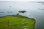 Nederland, Noord-Holland, Amsterdam, 05-08-2014; Buiten-IJ met Polder IJdoorn, Vuurtoreneiland met Kustbatterij (Fort Durgerdam, onderdeel van de Stelling van Amsterdam).<br /> Lighthouse Island with coastal Battery (Defense Line of Amsterdam).<br /> luchtfoto (toeslag op standard tarieven);<br /> aerial photo (additional fee required);<br /> copyright foto/photo Siebe Swart