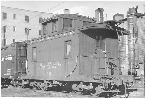 Short caboose #0501.<br /> D&amp;RGW  Durango, CO  Taken by Maxwell, John W. - 2/28/1946