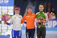 SCHAATSEN: HEERENVEEN: 15-12-2018, ISU World Cup, Podium 1500m Ladies Division B, Natalia Voronina (RUS), Joy Beune (NED), Maryna Zuyeva (BLR), ©foto Martin de Jong