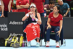 Johanna Konta (Great Britain) and Anne Keithavong (Captain of the Great Britain team). Rubber 1. Great Britain v Kazakhstan. World group II play off in the BNP Paribas Fed Cup. Copper Box arena. Queen Elizabeth Olympic Park. Stratford. London. UK. 20/04/2019. ~ MANDATORY Credit Garry Bowden/Sportinpictures - NO UNAUTHORISED USE - 07837 394578