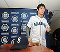 Hisashi Iwakuma (Mariners),.JANUARY 29, 2012 - MLB :.Seattle Mariners new signing pitcher Hisashi Iwakuma tries on his new jersey and cap during his introductory press conference at Safeco Field in Seattle, Washington, United States. (Photo by AFLO)