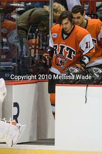 Taylor McReynolds (RIT - 11) - The Rochester Institute of Technology (RIT) Tigers defeated the Denver University Pioneers 2-1 on Friday, March 26, 2010, in their NCAA East Regional semi-final at the Times Union Center in Albany, New York.
