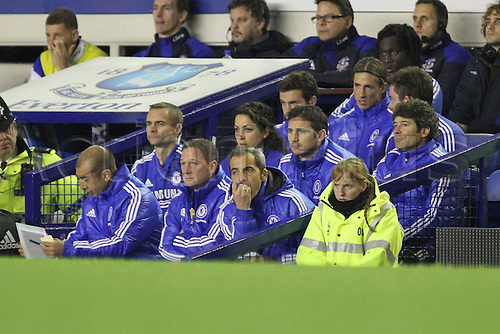 26.10.2011. Liverpool, England. The Chelsea bench in the Carling Cup match between Everton and Chelsea at Goodison Park. Mandatory Credit ActionPlus.