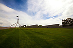 Grass roof of Parliament House, Canberra, Australia. The building was designed by Mitchell - Giurgola & Thorp Architects and built by a Concrete Constructions and John Holland joint venture. It was opened on 9 May 1988 by Elizabeth II, Queen of Australia.