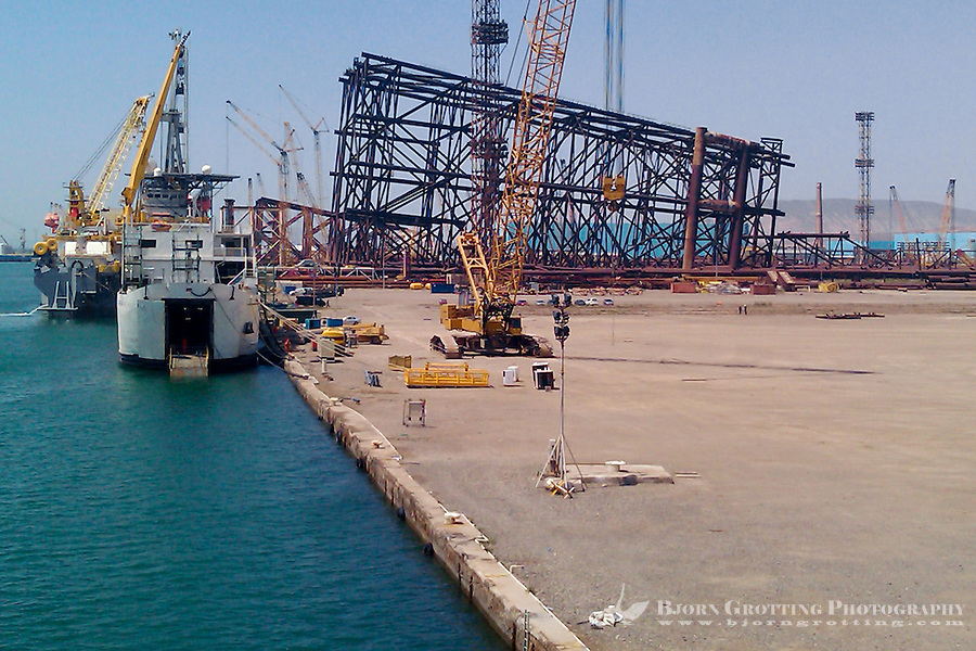Azerbaijan, Baku. An oil rig substructure under construction at the SPS base west of Baku.