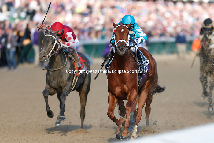 November 3, 2018: Monomoy Girl #11, ridden by Florent Geroux, wins the Longines Breeders' Cup Distaff on Breeders' Cup World Championship Saturday at Churchill Downs on November 3, 2018 in Louisville, Kentucky. Kaz Ishida/Eclipse Sportswire/CSM