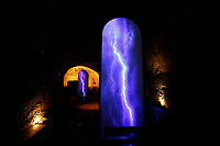 Rome June 17th 2019. Exhibition of the artist Fabrizio Plessi in the underground of the Barths of Caracalla titled 'The secret of time'. Light installations were placed by the artist to celebrate the Baths, many of them showing natural elements as water, lighting and fire. This part of the Baths will be opened to the public for the first time<br /> Foto Samantha Zucchi Insidefoto