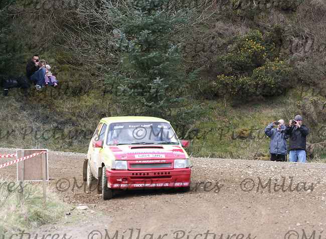 Greg McKnight / Chris McKnight in the Vauxhall Nova at Junction 3 on John Lawrie Group Special Stage 5 Fettersso 2 of the Coltel Granite City Rally 2012 which was based at the Thainstone Agricultural Centre, Inverurie.