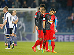 Dejection for Jefferson Montero and Wayne Routledge of Swansea following their defeat - Premier League Football - West Bromwich Albion vs Swansea City - The Hawthorns West Bromwich - Season 2014/15 - 11th February 2015 - Photo Malcolm Couzens/Sportimage
