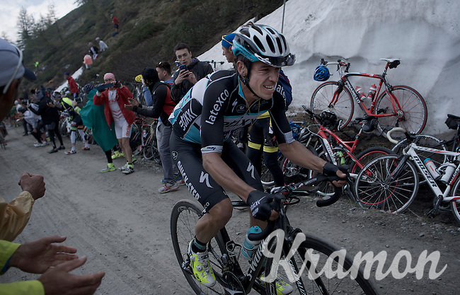 Rigoberto Uran (COL/Etixx-Quickstep) up the dirt roads of the Colle delle Finestre (2178m)<br /> <br /> Giro d'Italia 2015<br /> stage 20: Saint Vincent - Sestriere (199km)