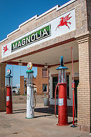 A restored Magnolia gas station in Shamrock Texas just off Route 66.