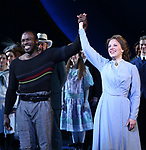 Joshua Henry and Jessie Mueller during the Opening Night Curtain Call for 'Carousel' at the Imperial Theatre on April 12, 2018 in New York City.