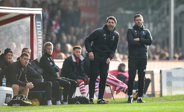 Lincoln City manager Danny Cowley, left, and Lincoln City's assistant manager Nicky Cowley shout instructions to his their from the technical area<br /> <br /> Photographer Chris Vaughan/CameraSport<br /> <br /> The EFL Sky Bet League Two - Lincoln City v Mansfield Town - Saturday 24th November 2018 - Sincil Bank - Lincoln<br /> <br /> World Copyright © 2018 CameraSport. All rights reserved. 43 Linden Ave. Countesthorpe. Leicester. England. LE8 5PG - Tel: +44 (0) 116 277 4147 - admin@camerasport.com - www.camerasport.com
