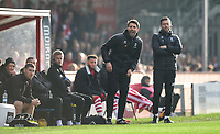 Lincoln City manager Danny Cowley, left, and Lincoln City's assistant manager Nicky Cowley shout instructions to his their from the technical area<br /> <br /> Photographer Chris Vaughan/CameraSport<br /> <br /> The EFL Sky Bet League Two - Lincoln City v Mansfield Town - Saturday 24th November 2018 - Sincil Bank - Lincoln<br /> <br /> World Copyright &copy; 2018 CameraSport. All rights reserved. 43 Linden Ave. Countesthorpe. Leicester. England. LE8 5PG - Tel: +44 (0) 116 277 4147 - admin@camerasport.com - www.camerasport.com