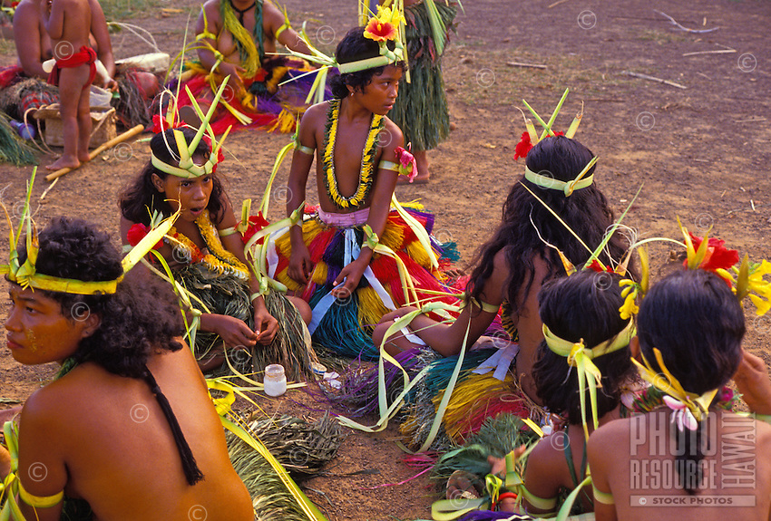 Men and women preparing for dance, Yap Micronesia