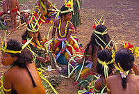 Men and women preparing for dance, Yap Micronesia
