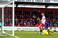 Dean Bowditch of Stevenage scores the second goal for his team during Stevenage vs Crewe Alexandra, Sky Bet EFL League 2 Football at the Lamex Stadium on 10th March 2018