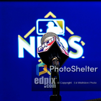 7 October 2017: An MLB Microphone awaits the arrival of players and managers prior to the second game of the NLDS against the Chicago Cubs at Nationals Park in Washington, DC. The Cubs shut out the Nationals 3-0 to take a 1-0 lead in their best of five Postseason series. Mandatory Credit: Ed Wolfstein Photo *** RAW (NEF) Image File Available ***