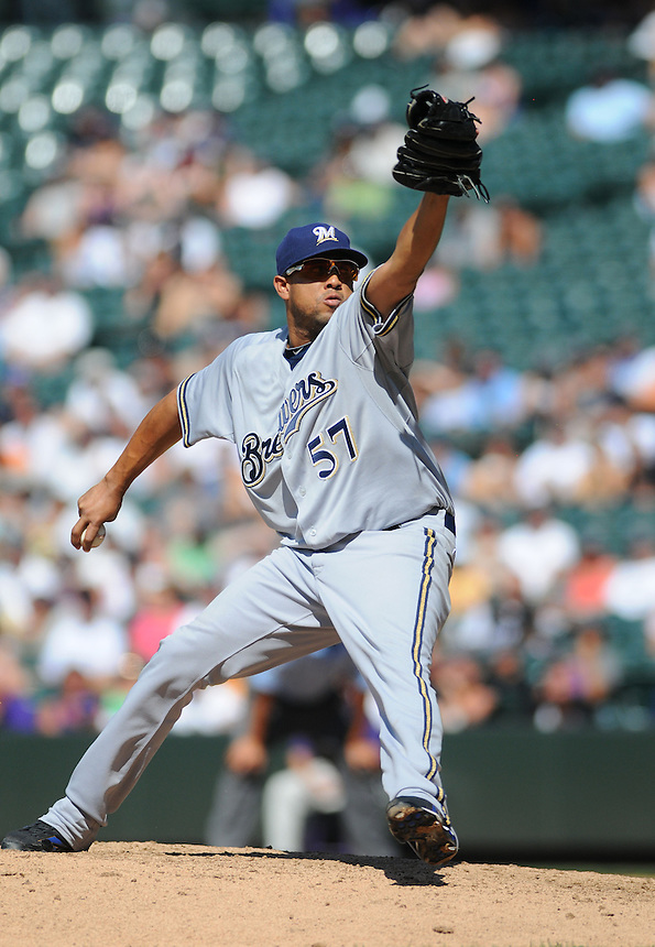 17 JULY 2011: Milwaukee Brewers relief pitcher Francisco Rodriguez (57)during a regular season game between the Milwaukee Brewers and the Colorado Rockies at Coors Field in Denver, Colorado. The Brewers beat the Rockies 4-3 to split the four game series. *****For Editorial Use Only*****