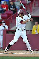 Center fielder Gene Cone (19) of the South Carolina Gamecocks bats in a game against the Coastal Carolina Chanticleers on Tuesday, April 5, 2016, at Founders Park in Columbia, South Carolina. South Carolina won, 4-2. (Tom Priddy/Four Seam Images)