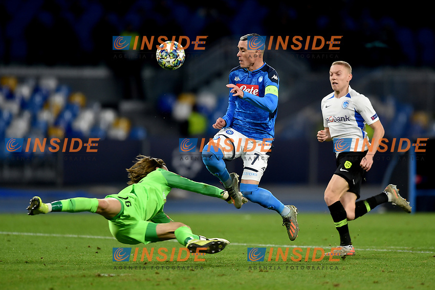 foul on Jose Callejon  of Napoli by Maarten Vandervoordt of Genk<br /> Napoli 10-12-2019 Stadio San Paolo <br /> Football Champions League 2019/2020 Group E<br /> SSC Napoli - Genk<br /> Photo Antonietta Baldassarre / Insidefoto
