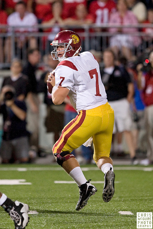 12 September 2009:  Football -- USC quarterback Matt Barkley looks for a receiver during their game against Ohio State at Ohio Stadium in Columbus.  USC won 18-15.  Photo by Christopher McGuire.