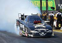 May 19, 2012; Topeka, KS, USA: NHRA funny car driver Dale Creasy Jr during qualifying for the Summer Nationals at Heartland Park Topeka. Mandatory Credit: Mark J. Rebilas-