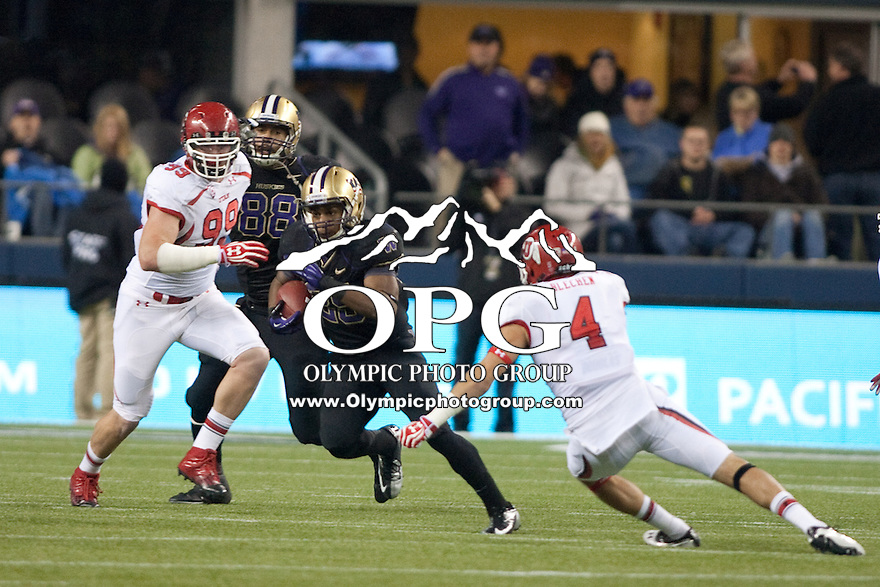 NOV 10, 2012: Washington's #25 Bishop Sankey breaks up field against Utah.  Washington won 34-15 over Utah at CenturyLink Field in Seattle, WA...