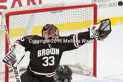 Tim Ernst (Brown - 33) - The Harvard University Crimson defeated the visiting Brown University Brown Bears 5-2 (EN) on Saturday, November 7, 2015, at Bright-Landry Center in Boston, Massachusetts.