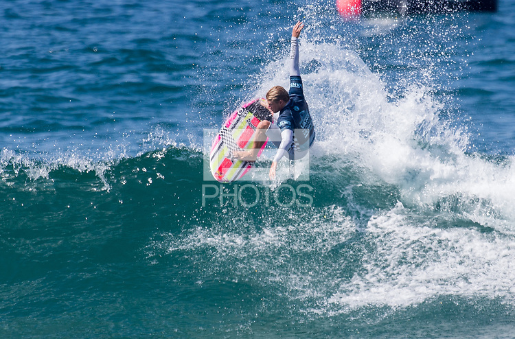Huntington Beach, CA - Saturday August 4, 2018: Kolohe Andino in action during a World Surf League (WSL) Qualifying Series (QS) Men's Round of 16 heat at the 2018 Vans U.S. Open of Surfing on South side of the Huntington Beach pier.