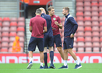 Burnley's Ben Gibson (right) chats with James Tarkowski before todays match<br /> <br /> Photographer Kevin Barnes/CameraSport<br /> <br /> The Premier League - Southampton v Burnley - Sunday August 12th 2018 - St Mary's Stadium - Southampton<br /> <br /> World Copyright &copy; 2018 CameraSport. All rights reserved. 43 Linden Ave. Countesthorpe. Leicester. England. LE8 5PG - Tel: +44 (0) 116 277 4147 - admin@camerasport.com - www.camerasport.com