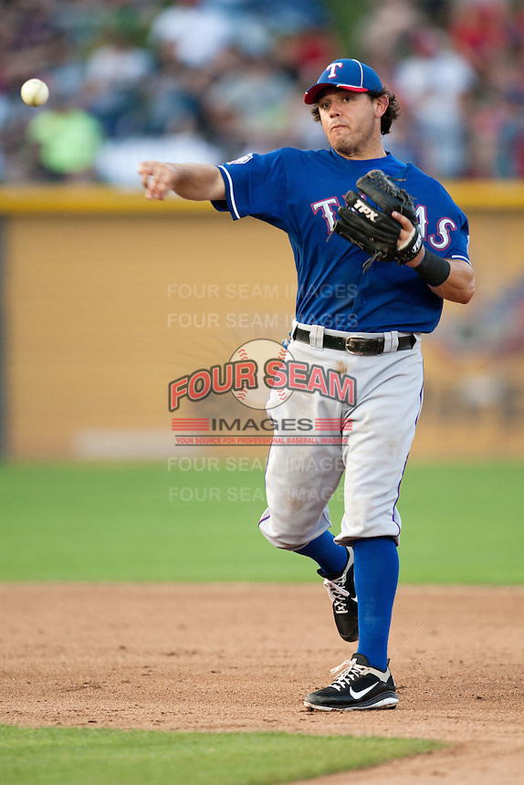 """Texas Rangers second baseman Ian Kinsler #5 throws the ball to first during the MLB exhibition baseball game against the """"AAA"""" Round Rock Express on April 2, 2012 at the Dell Diamond in Round Rock, Texas. The Rangers out-slugged the Express 10-8. (Andrew Woolley / Four Seam Images)."""