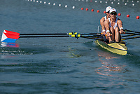 """Lucerne, SWITZERLAND, 13th July 2018, Friday, USA W2X. Bow, """"Meghan O'LEARY"""" and  """"Ellen TOMEK"""", move away from the pontoon at the start of their heat in the """"Women's Double Sculls"""", at the  FISA World Cup series, No.3, Lake Rotsee, © Peter SPURRIER/Alamy Live News"""