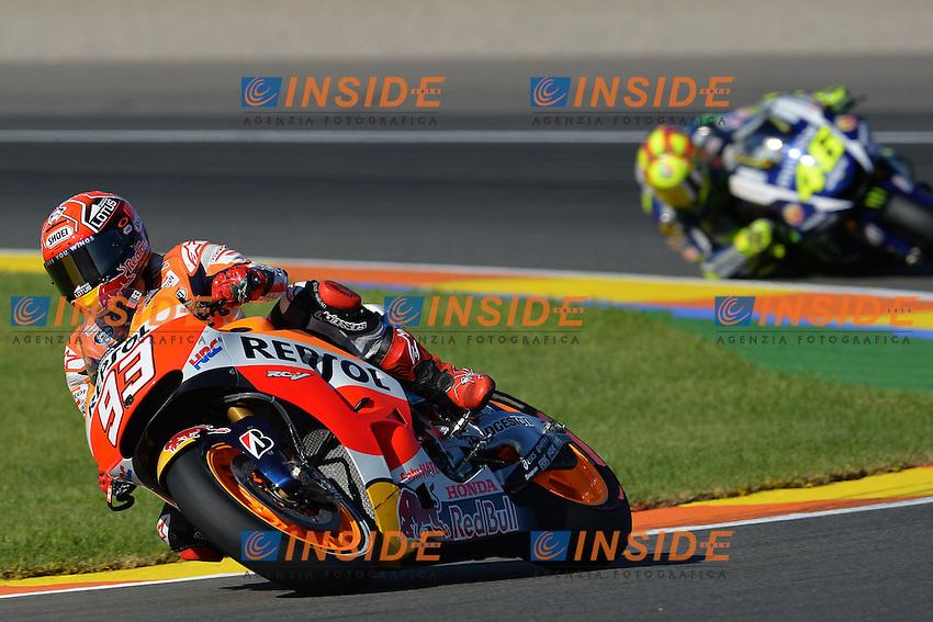 Valencia (Spagna) 06-11-2015 - prove libere Moto GP / foto Luca Gambuti/Image Sport/Insidefoto<br /> nella foto: Marc Marquez-Valentino Rossi